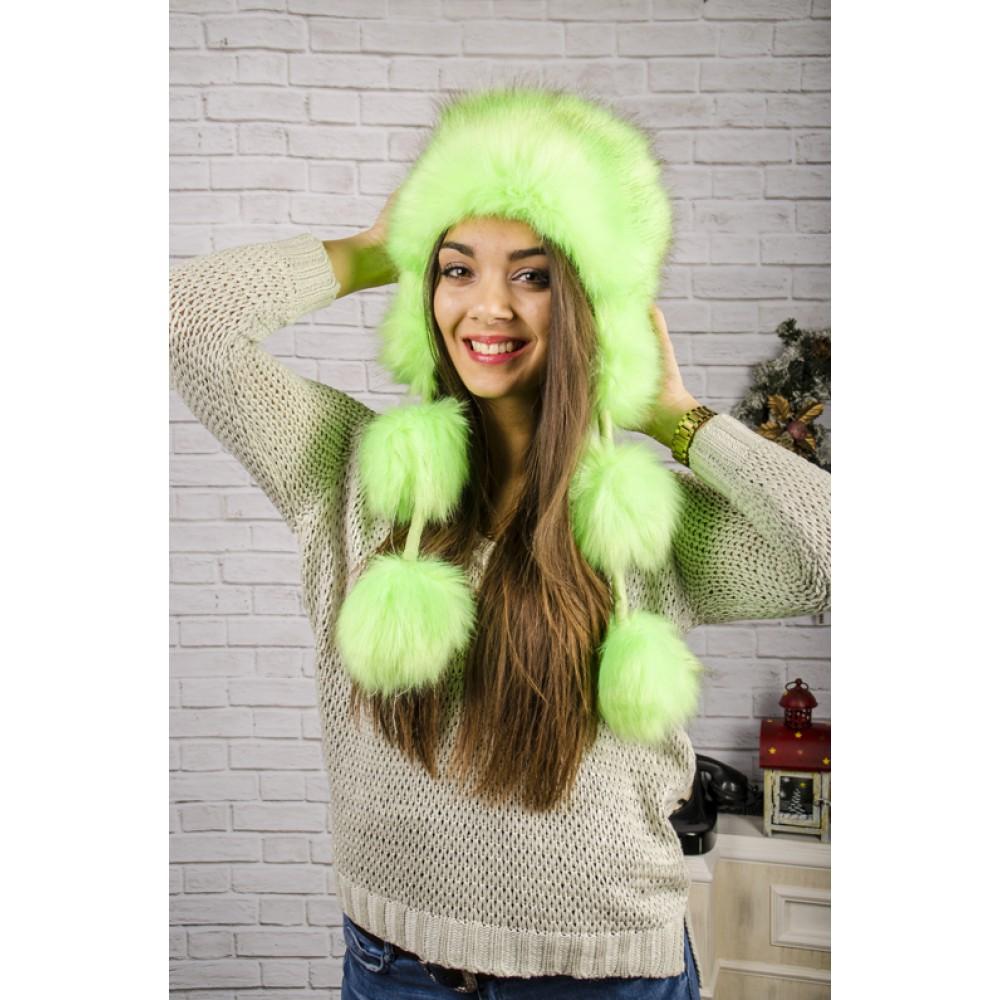 Зелена Пухкава Зимна Дамска Шапка