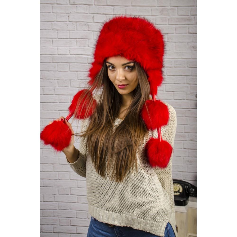 Червена Пухкава Зимна Дамска Шапка