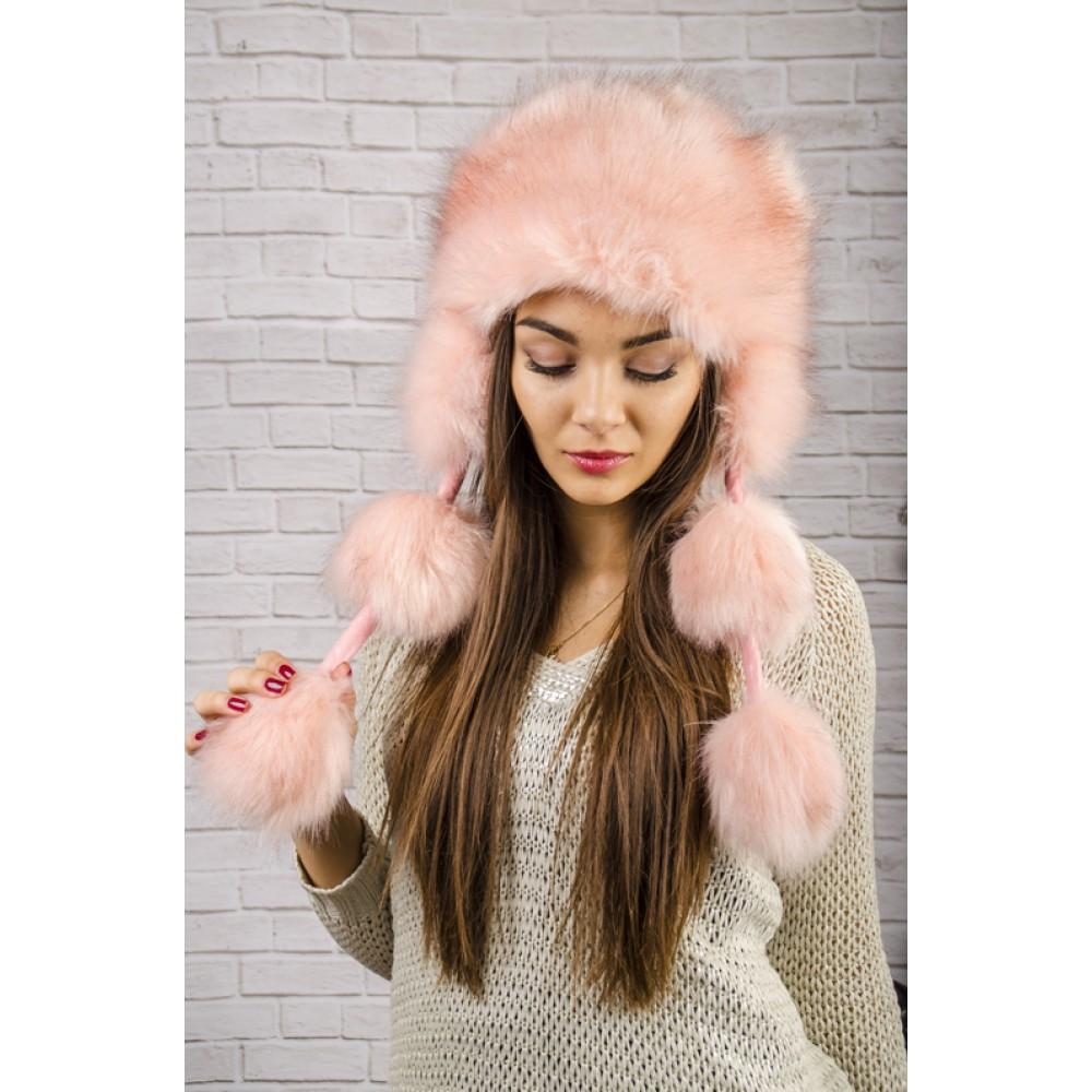 Розова Пухкава Зимна Дамска Шапка