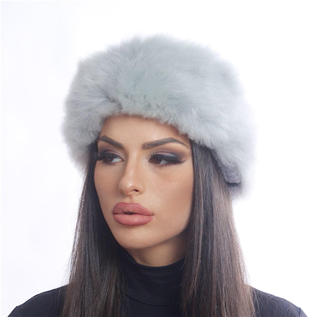 Дамска Кожена Зимна Шапка Калпак в Сиво