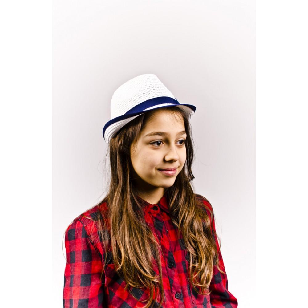 Детско Бомбе В Бяло Със Синя Панделка За Момичета