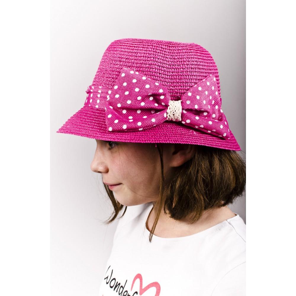 Розова Детска Капела С Панделка На Точки За Момичета