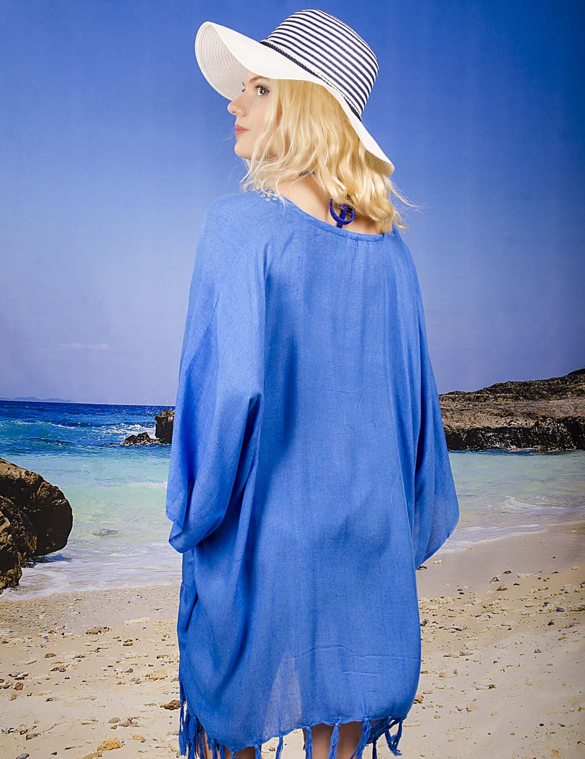 Плажна Туника в Тъмно Синьо Изчистена