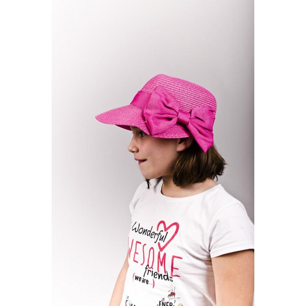 Тъмно Розова Детска Капела С Панделка за Момичета