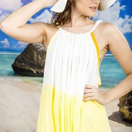 Плажна Рокля в Бяло и Жълто