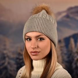 Сива Дамска Шапка Зимна