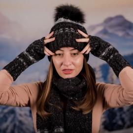 Черен Дамски зимен комплект от 3 части