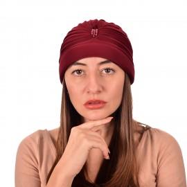 Дамски тюрбан с перлички в Бордо цвят