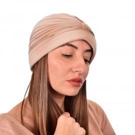 Дамски тюрбан с перлички в Бежов цвят