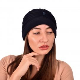 Дамски тюрбан с перлички в Тъмно син цвят