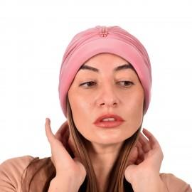 Дамски тюрбан с перлички в Розов цвят