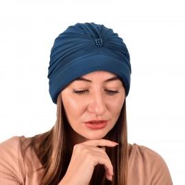 Дамски тюрбан с перлички в Петролно син цвят
