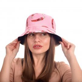 Шапка тип Идиотка с Люти чушки в Розово