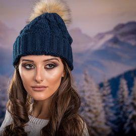 Дамска Зимна шапка в Синьо зелено