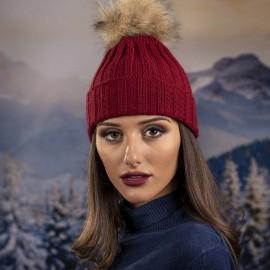 Дамска Плетена Зимна Шапка Бордо