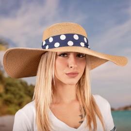 Дамска Лятна Кафява Капела със Синя лента на едри бели точки