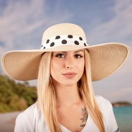 Дамска Лятна Бежова Капела с бяла лента на едри точки