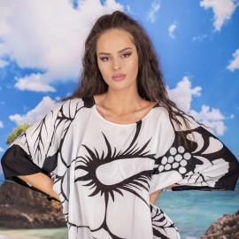 Плажна Туника в Черно с Бели Цветя
