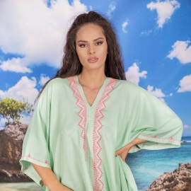 Плажна Туника в Светло Зелено с Пискюли