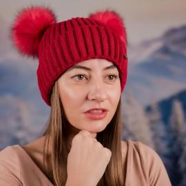 Дамска Зимна Червена шапка с два помпона