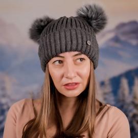 Дамска Зимна Сива шапка с два помпона