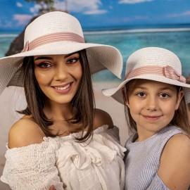 Бяла Дамска и Детска Капела Розова Лента Комплект