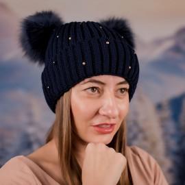 Дамска Зимна Тъмно синя шапка с перлички и два помпона