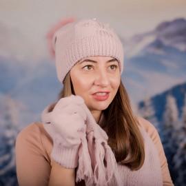 Дамски зимен комплект от 3 части Бледо Розов