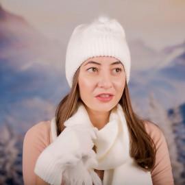 Дамски зимен комплект от 3 части Бял