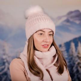 Дамски зимен комплект от 2 части Бледо Розов
