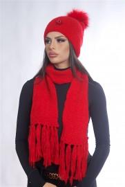 Дамски зимен комплект червен