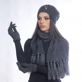 Дамски зимен комплект от 3 части тъмно сив