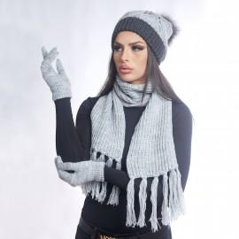 Дамски зимен комплект от 3 части смесен