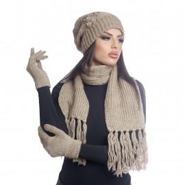 Дамски зимен комплект от 3 части кафяв