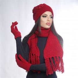 Дамски зимен комплект от 3 части в бордо