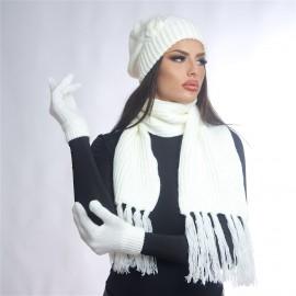 Дамски зимен комплект от 3 части в бяло