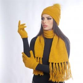 Дамски зимен комплект от 3 части горчица