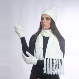 Дамски зимен комплект от 3 части в бял цвят