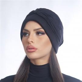 Дамски тюрбан с перлички в черен цвят