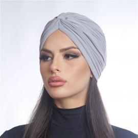 Дамски тюрбан в светло сив цвят