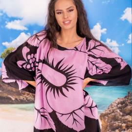 Плажна Туника в Черно с Розови Цветя
