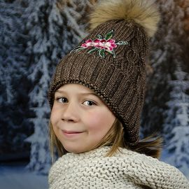 Детска Зимна Шапка с Цвете за Момичета в Кафяво