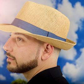 Мъжко Бомбе в Кафяво със Синя Лента