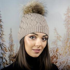 Зимна Дамска Шапка Ангора в Светло Кафяво