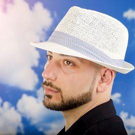 Мъжко Бомбе в Бяло със Лента в Бяло и Синьо