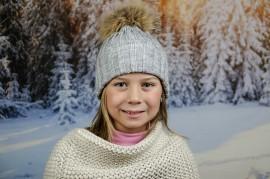 Детска Зимна Шапка за Момичета в Сиво