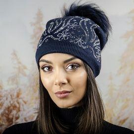 Дамска Зимна Шапка с Полар в Тъмно Синьо