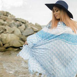 Плажна Туника в Светло Синьо с Рибки