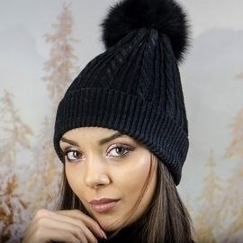 Зимна Дамска Шапка Ангора с Пух в Черно