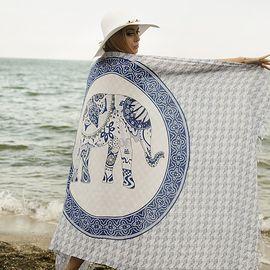 Плажен Шал в Бяло и Тъмно Синьо със Слонче